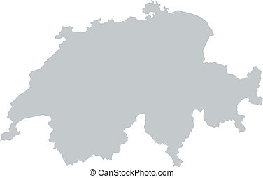 Map of Switzerland with borders in gray