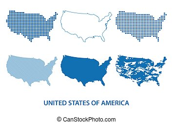 map of United States - vector set of silhouettes in different patterns