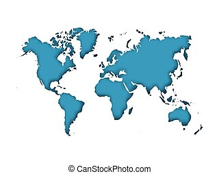 Map of World cut into paper with inner shadow isolated on blue background. Vector illustration with 3D effect