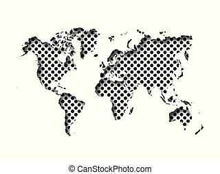 Map of World cut into paper with inner shadow isolated on dotted background. Vector illustration with 3D effect