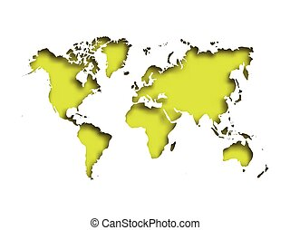 Map of World cut into paper with inner shadow isolated on green background. Vector illustration with 3D effect