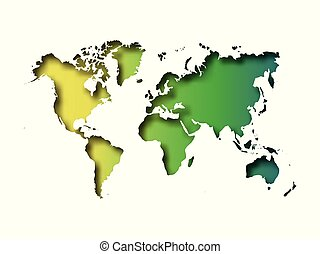 Map of World cut into paper with inner shadow isolated on green gradient background. Vector illustration with 3D effect