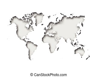 Map of World cut into paper with inner shadow isolated on grey background. Vector illustration with 3D effect