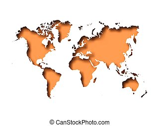 Map of World cut into paper with inner shadow isolated on orange background. Vector illustration with 3D effect