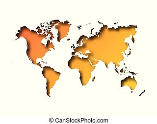 Map of World cut into paper with inner shadow isolated on orange gradient background. Vector illustration with 3D effect