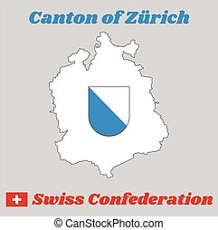 Map outline and Coat of arms of Zurich, The canton of Switzerland