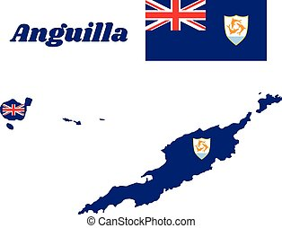 Map outline and flag of Anguilla, Blue Ensign with the British flag in the canton, charged with the coat of arms of Anguilla in the fly.