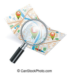 Map with Magnifying Glass, GPS Navigation Search Concept, vector illustration