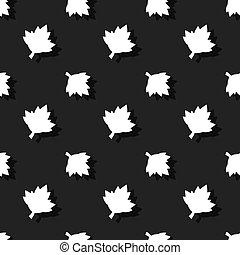 Maple Leaf Floral Nature Seamless Dark Pattern