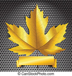 Maple leave with golden banner. Ready for a text