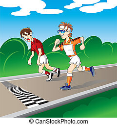 marathon runners at the finish