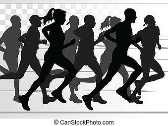 Marathon runners detailed active man and woman illustration vector