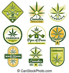 Marijuana, hashish, drug medicine vector logos and labels set
