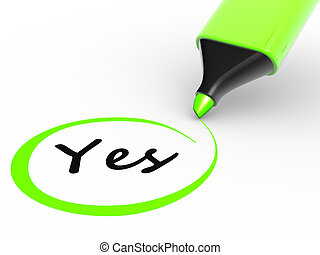 """Marker pencil and """" yes """" . Choosing yes. 3d render"""