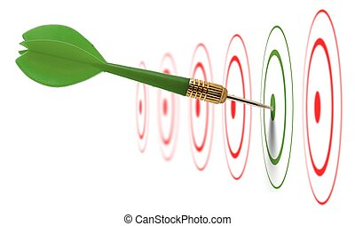 dart hitting the center of a green target, there is other red target, image is isolated on a white background
