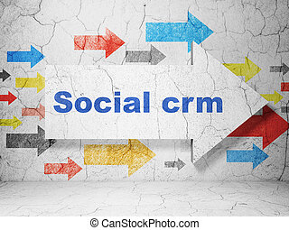Marketing concept: arrow with Social CRM on grunge wall background