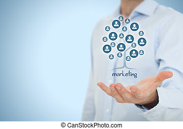 Marketing is a root of a tree in to get and keep customers. Customers represented by icons.