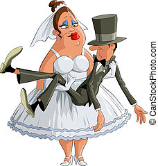 Bride groom is in the hands, vector
