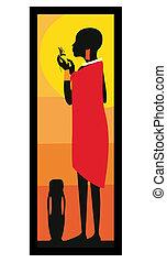 Masai woman standing-vector