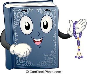 Mascot Book Quran Prayer Beads Illustration