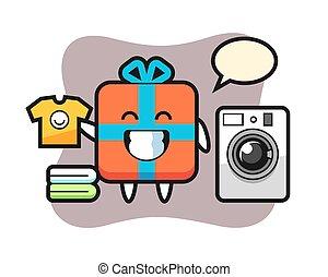 Mascot cartoon of gift box with washing machine