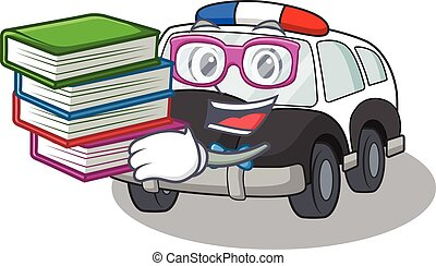 mascot cartoon of police car studying with book