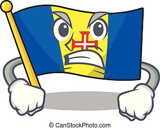 mascot of angry flag madeira cartoon character style