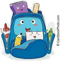 Mascot School Supplies Illustration