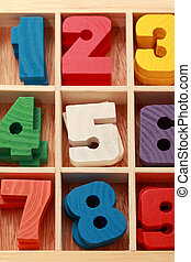 math game for junior age with colored wooden signs of numbers vertical