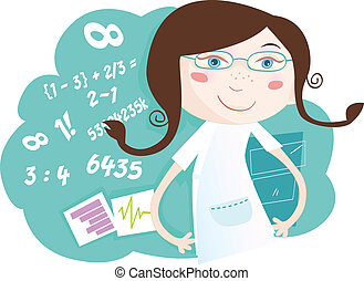 She love math! Vector girl character with numbers. Art Vector Illustration. See similar pictures in my portfolio!