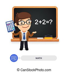 Math Teacher at the School Blackboard