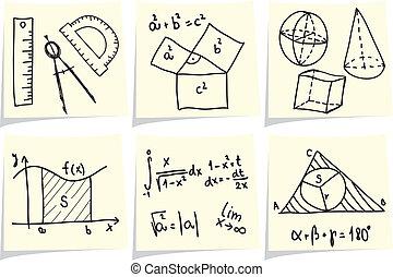 Mathematics and geometry icons and formulas on yellow memo sticks. Vector illustration.