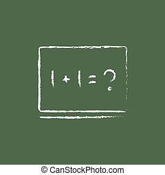 Maths example on the blackboard icon drawn in chalk.