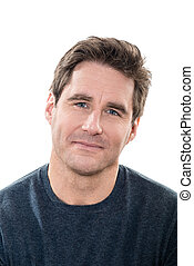 one caucasian man mature handsome portrait blue eyes smiling portrait studio white background