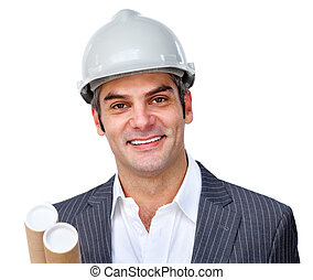 Mature male architect wearing a hardhat against a white background