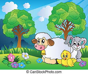 Meadow with spring animals