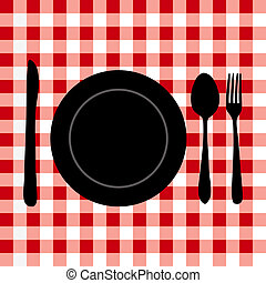 Illustration of a meal setting on a red tablecloth