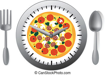 Vector illustration with clock and pizza