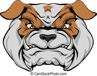 A mean bulldog dog character or sports mascot staring forward