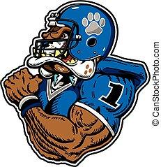 mean, muscular bulldog football player wearing a helmet