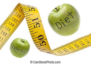 Measuring Tape Diet Calories Concept Isolated on White with a Clipping Path.