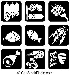 set of vector silhouettes of icons on the food theme