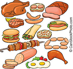 Meat products icon set