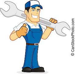 Clipart picture of a mechanic or plumber cartoon character holding a huge wrench