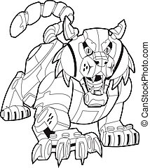 Vector cartoon clip art illustration of a mechanical robot bobcat or wildcat mascot stalking its prey. This cat is crouched low with its mouth open, and its front claws are out. Body parts in layers.