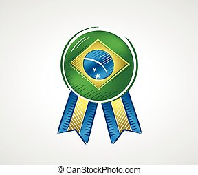 Medal with the flag of Brazil with bright colors