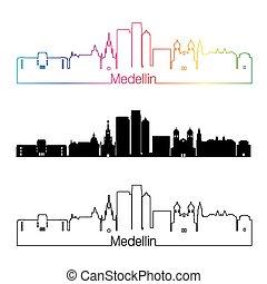 Medellin skyline linear style with rainbow