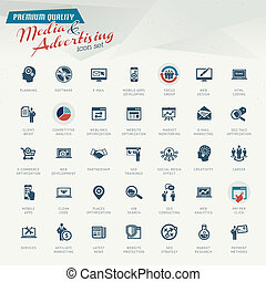 Set of business retro icons for Media and advertising
