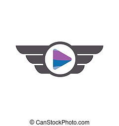 Media play with wing logo icon vector