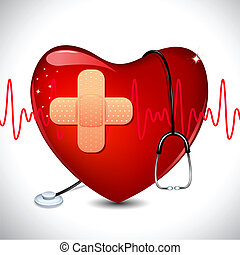 illustration of stethoscope on heart on medical background